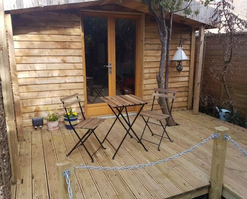 Apple Tree Cabin Garden decking and pond